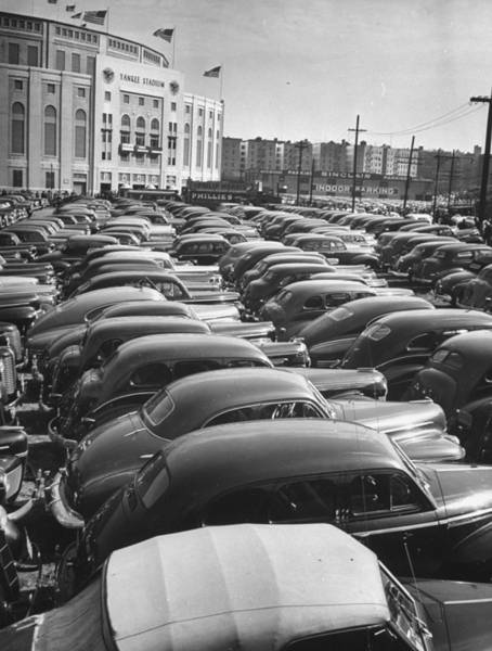 Parking Photograph - Parking Lot At Yankee Staduim During Wor by John Phillips