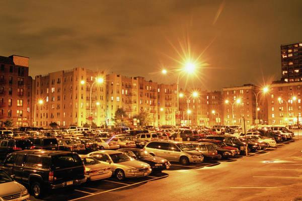 Parking Lot Photograph - Parking Lot, Night, Long Exposure, Lens by Jeff Spielman