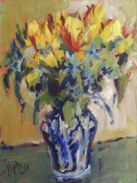 Painting - Parrot Tulips In Delft Blue Vase by Nop Briex
