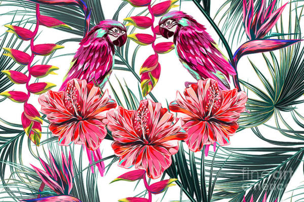 Cover Wall Art - Digital Art - Parrots, Tropical Flowers, Palm Leaves by Nataliako