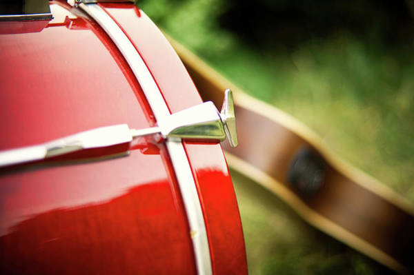 Acoustic Bass Wall Art - Photograph - Part Of Red Bass Drum With Acoustic by Matthias Hombauer Photography