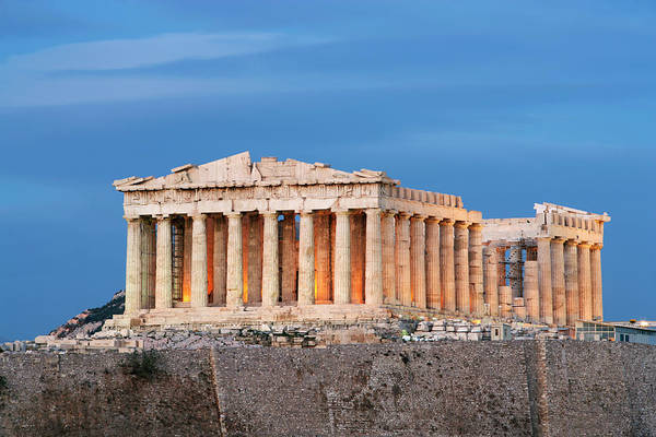 Ancient Greek Photograph - Parthenon On Acropolis At Dusk by Guy Vanderelst
