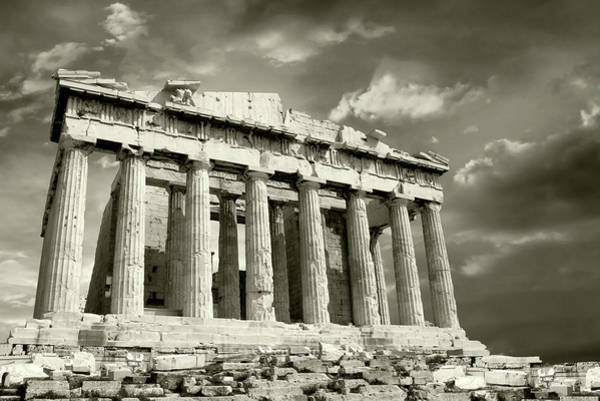 Ancient Greek Photograph - Parthenon With Moody Sky by Vasiliki