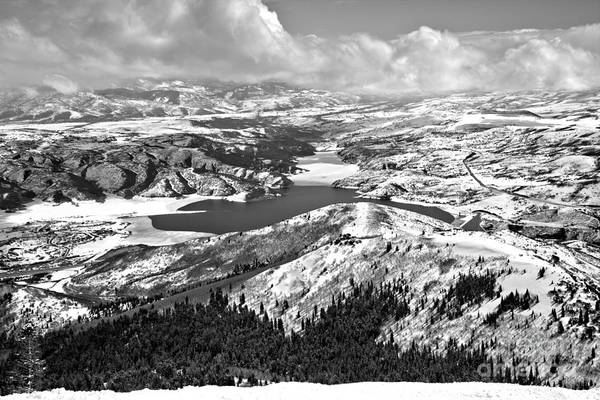 Photograph - Partly Cloudy Over The Jordanelle Reservoir Black And White by Adam Jewell