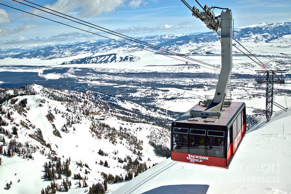 Photograph - Partly Cloudy Skies Over The Jackson Hole Tram by Adam Jewell