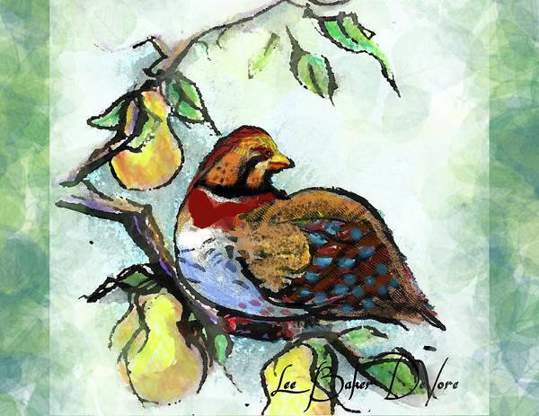 Wall Art - Painting - Partridge In A Pear Tree by Lee Baker DeVore