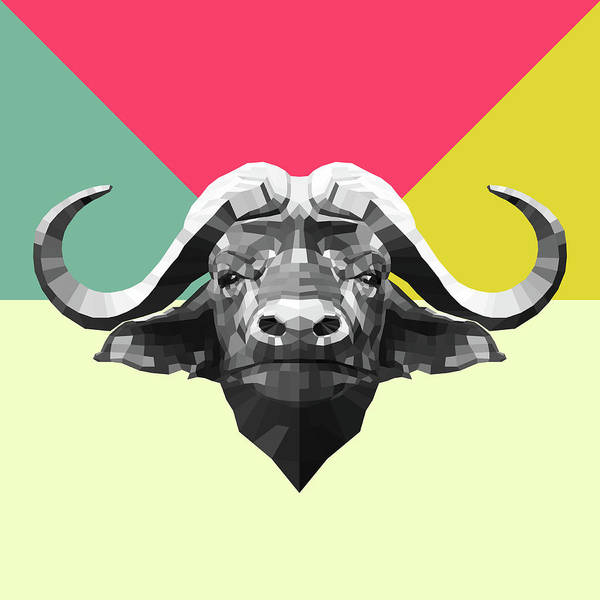 Wall Art - Digital Art - Party Buffalo by Naxart Studio