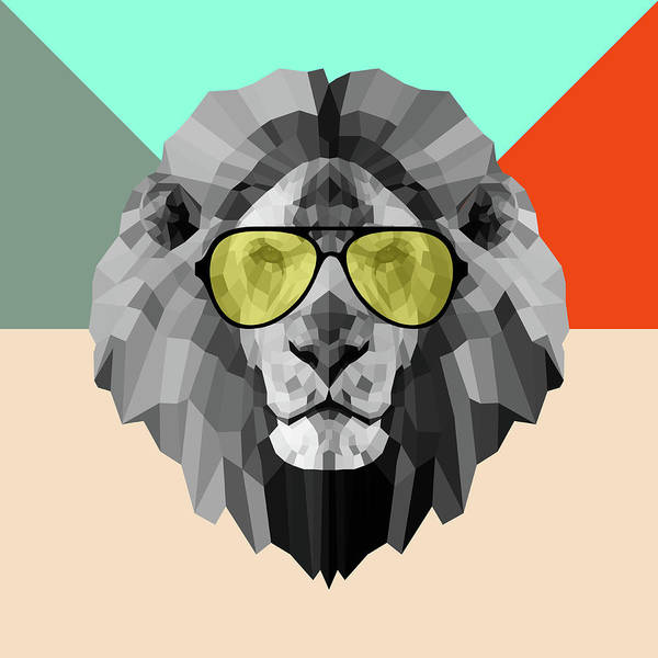 Wall Art - Digital Art - Party Lion In Glasses by Naxart Studio