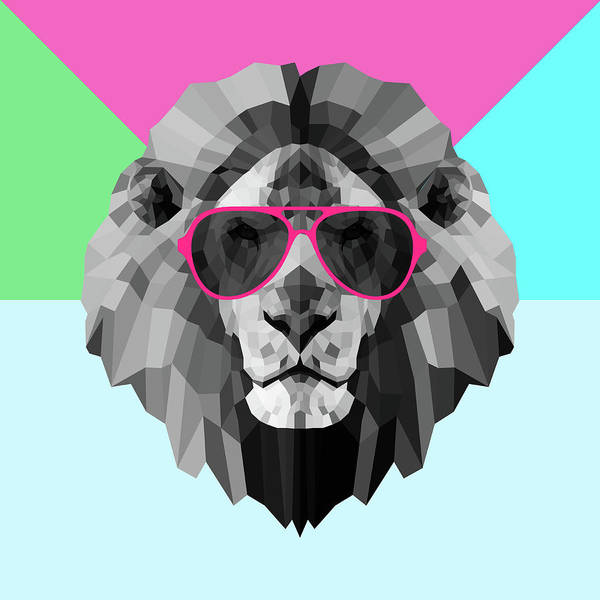 Wall Art - Digital Art - Party Lion In Red Glasses by Naxart Studio