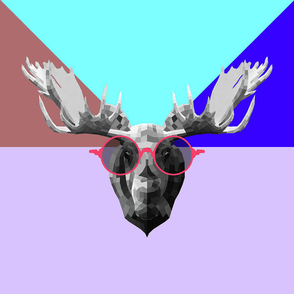 Wall Art - Digital Art - Party Moose In Glasses by Naxart Studio