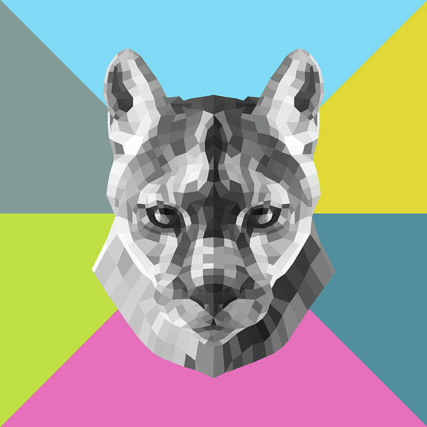 Wall Art - Digital Art - Party Mountain Lion by Naxart Studio