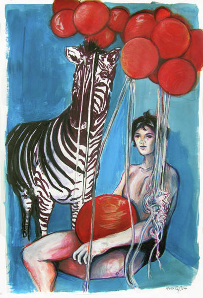 Wall Art - Painting - Party Of One Zebra Boy by Rene Capone