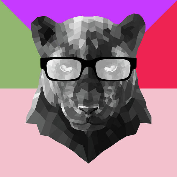 Wall Art - Digital Art - Party Panther In Glasses by Naxart Studio