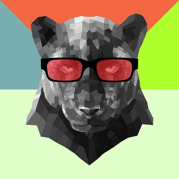 Wall Art - Digital Art - Party Panther In Red Glasses by Naxart Studio