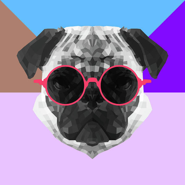 Wall Art - Digital Art - Party Pug In Pink Glasses by Naxart Studio