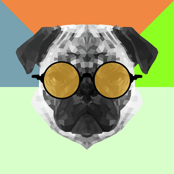 Wall Art - Digital Art - Party Pug In Yellow Glasses by Naxart Studio