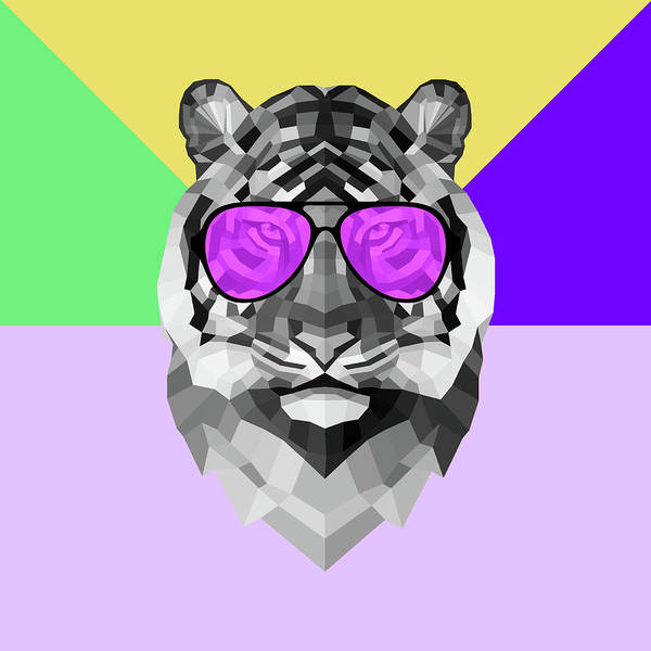 Wall Art - Digital Art - Party Tiger In Glasses by Naxart Studio