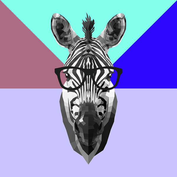 Wall Art - Digital Art - Party Zebra In Glasses by Naxart Studio