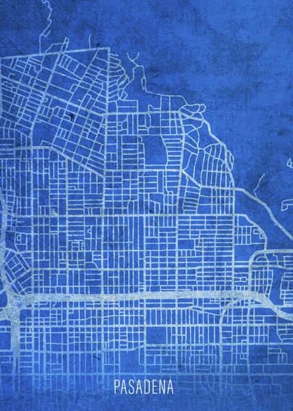 Wall Art - Mixed Media - Pasadena California City Street Map Blueprints by Design Turnpike