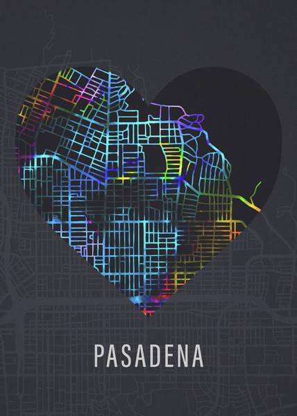Wall Art - Mixed Media - Pasadena California Florida City Heart Street Map Love Dark Mode by Design Turnpike