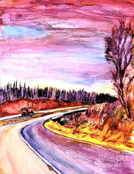 Wall Art - Painting - Passenger Seat Truck Driver Scene by Patty Donoghue