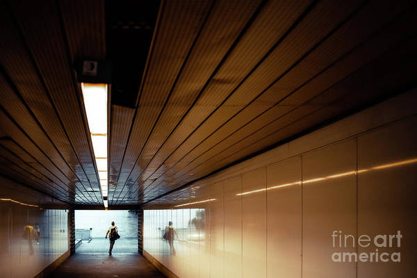 Passengers In A Hurry At The End Of A Tunnel At The Entrance To The Metro Station. Art Print