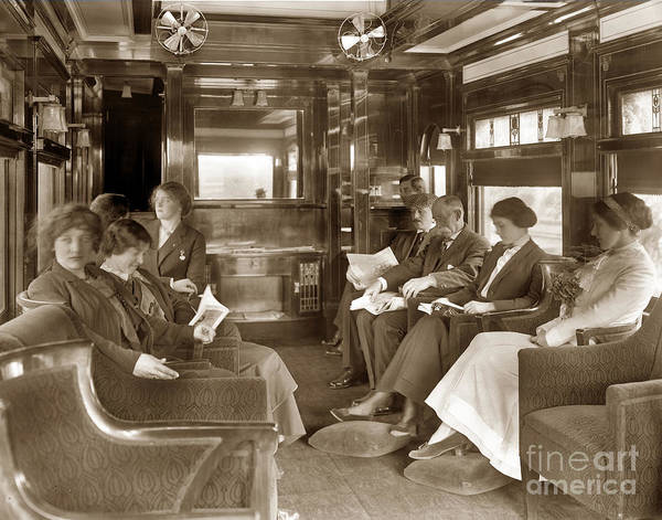 Photograph - Passengers In The Lounge Car On Thr Santa Fe  De Luxe Train 1912 by California Views Archives Mr Pat Hathaway Archives