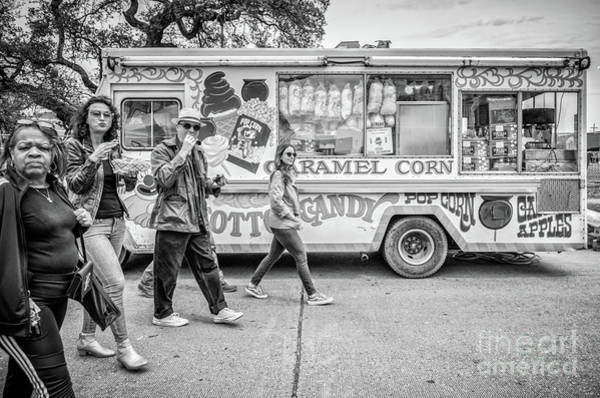 Wall Art - Photograph - Passing By The Cotton Candy Truck - Bw by Kathleen K Parker
