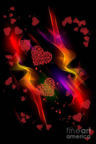 Digital Art - Passionate Hearts by Rachel Hannah