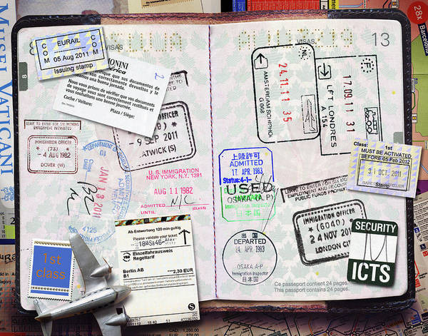 North London Wall Art - Photograph - Passport With Stamps by Andrew Kolb