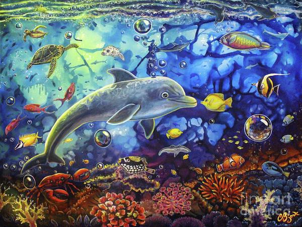 Painting - Past Memories New Beginnings Dolphin Reef by CBjork
