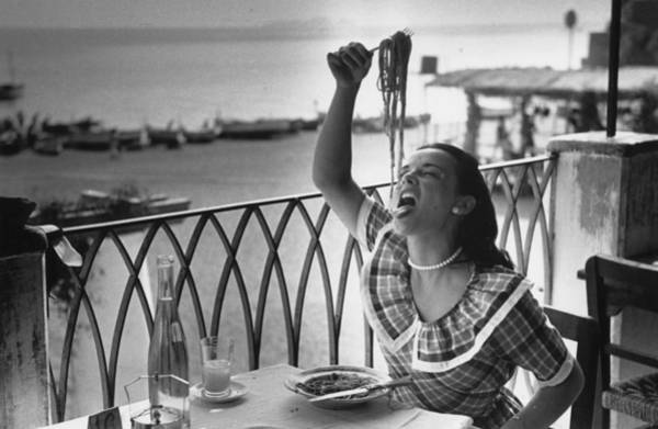 Enjoyment Photograph - Pasta With Gusto by Bert Hardy