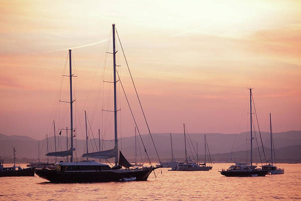 Yacht Photograph - Pastel Dusk Sky And Yachts by Secablue