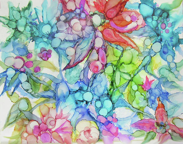 Pastel Flowers - Alcohol Ink Art Print