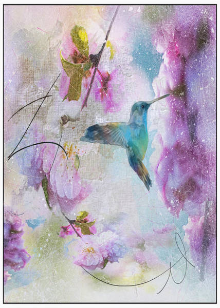 Bird Watercolor Mixed Media - Pastel Hummimbird by Tim Palmer