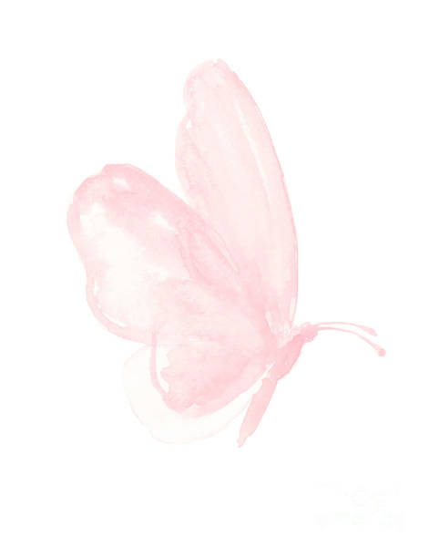 Wall Art - Painting - Pastel Pink Butterfly Facing Right by Joanna Szmerdt