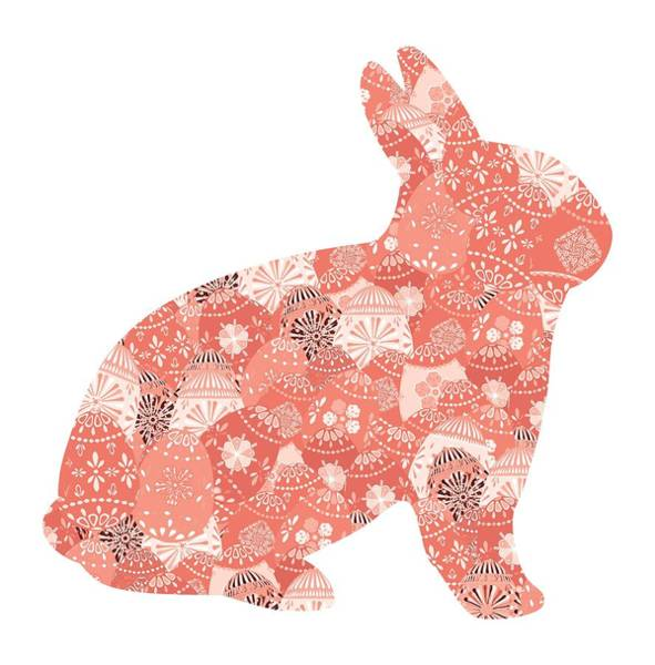 Digital Art - Patchwork Bunny In Trendy Living Coral by Marianne Campolongo