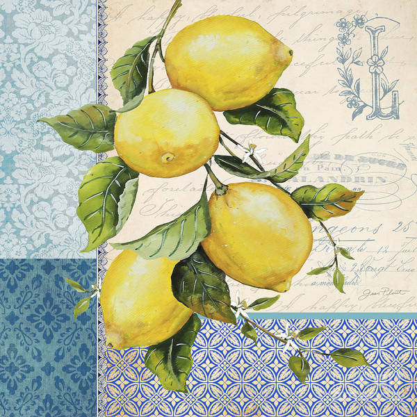 Branch Mixed Media - Patchwork Lemons A by Jean Plout