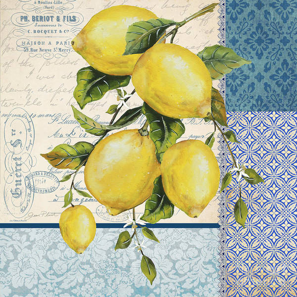 Branch Mixed Media - Patchwork Lemons B by Jean Plout