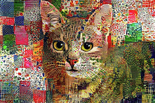 Digital Art - Patchwork Patty Tabby Cat by Peggy Collins