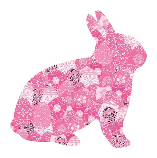 Digital Art - Patchwork Pink Bunny by Marianne Campolongo