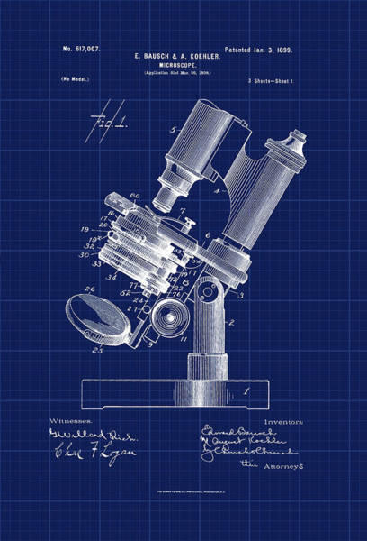 Photograph - Patent Drawing 1899 Microscope by Carlos Diaz
