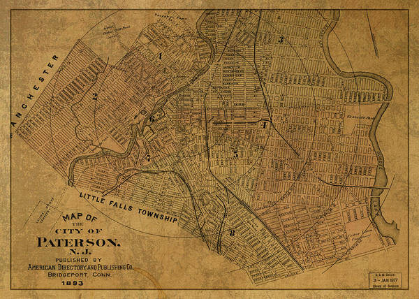 New Jersey Mixed Media - Paterson New Jersey Vintage City Street Map 1893 by Design Turnpike