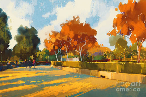 Wall Art - Digital Art - Path In The Autumn Park,landscape by Tithi Luadthong