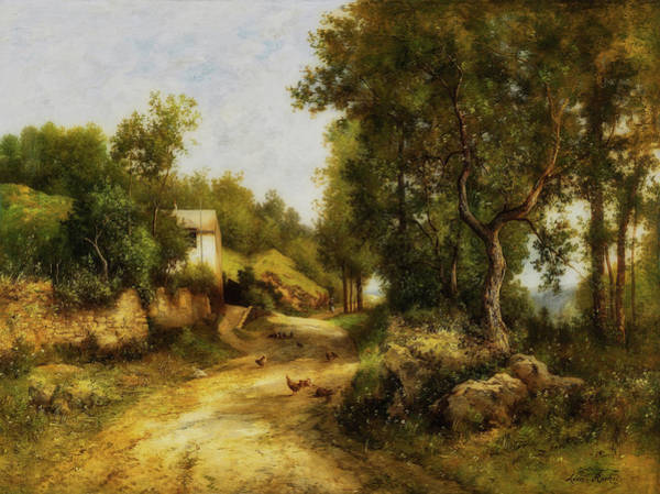 Wall Art - Painting - Path Through A Forest Landscape by Leon Richet
