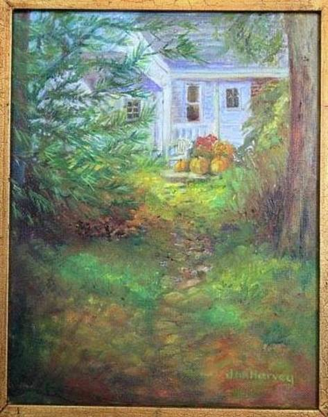 Wall Art - Painting - Pathway From Tree House by Jan Harvey