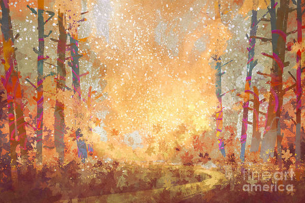 Wall Art - Digital Art - Pathway In Autumn Forest,landscape by Tithi Luadthong