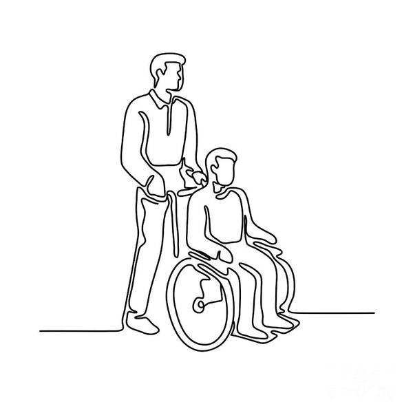 Wall Art - Digital Art - Patient On Wheelchair Continuous Line by Aloysius Patrimonio