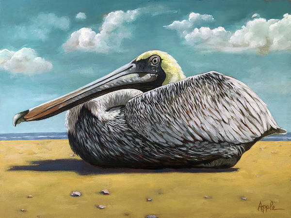 Wall Art - Painting - Patient Pelican Oil Painting by Linda Apple