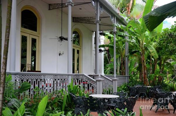Photograph - Patio And Balcony With Metal Furniture In Colonial Setting Raffles Hotel Singapore by Imran Ahmed